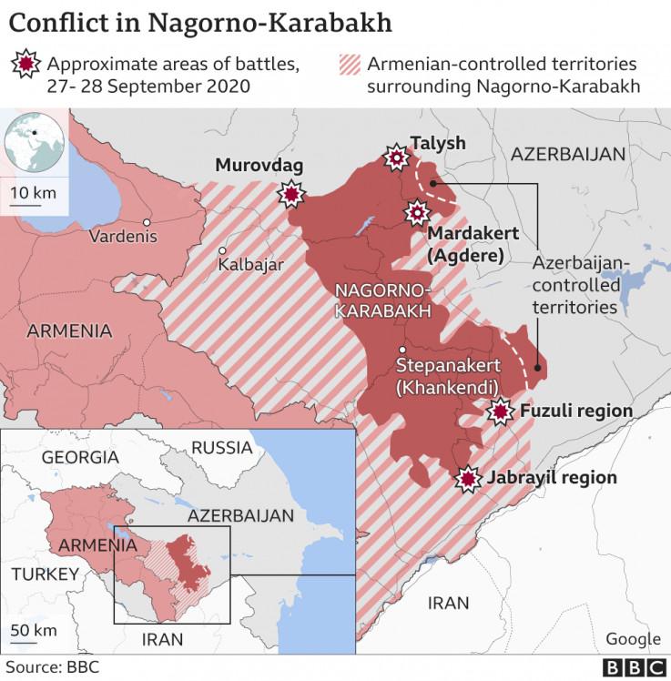 Mapa konflikta u Nagorno-Karabahu
