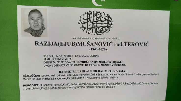 Razija Mušanović umrla u septembru