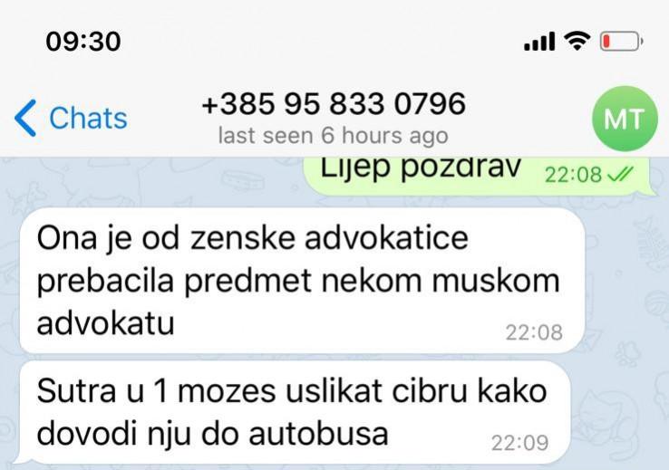"""Screenshot poruka: Radončića naizgled ''mekano'' pitaju ima li interesa da s nepostojećom vlasnicom Vesnom Nikolić sve riješi """"vansudski"""""""