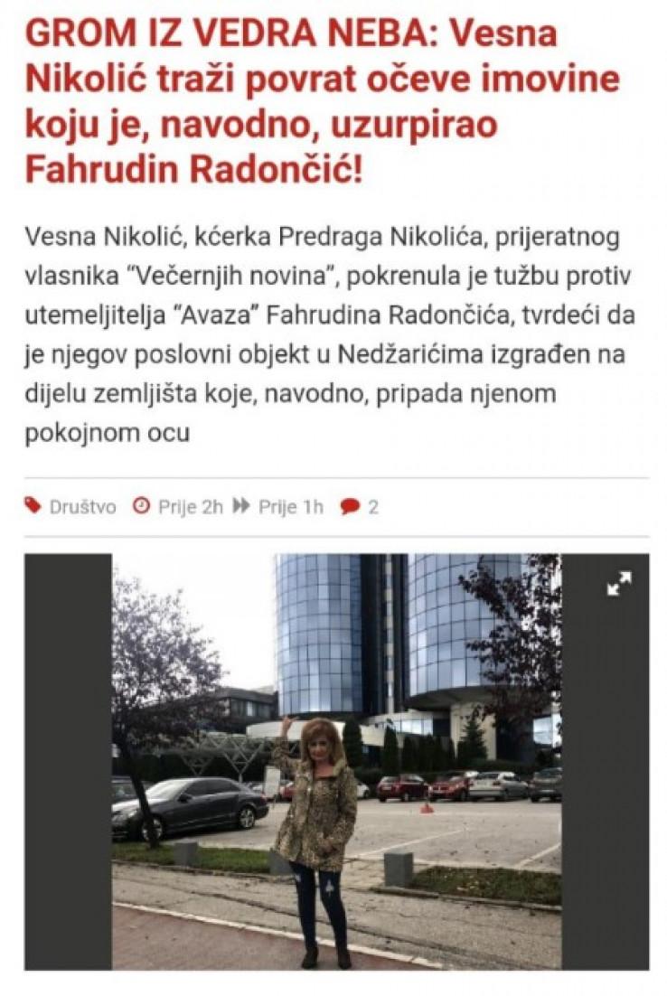 """Početak iznude: Reketaški tekst s portala """"Slobodna Bosna"""""""