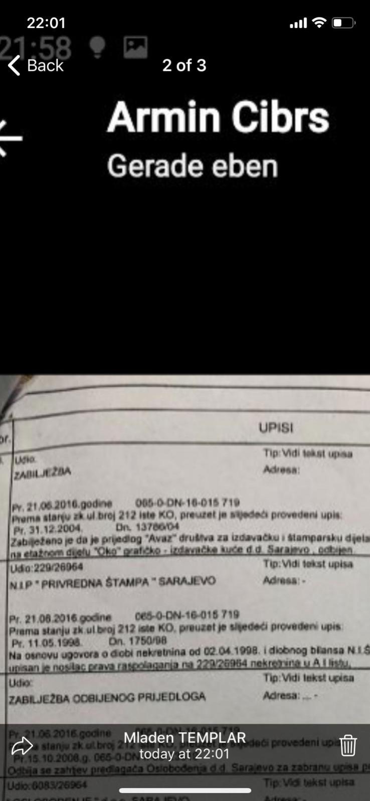 Screenshot poruke pristigle na mobilni telefon Fahrudina Radončića: Mladen TEMPLAR nenamjerno otkriva identitet Armina Cibre