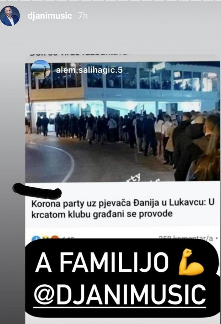 Reakcija Đanija na Instagramu