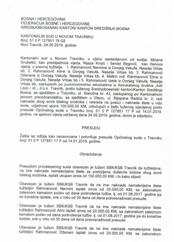 Presuda Rahmanović: Sud utvrdio da se mora platiti odšteta