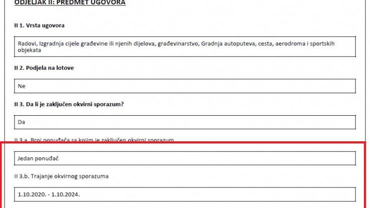 Faksimil obavještenja o dodjeli ugovora: Okvirni sporazum za izgradnju dionice samo do ulice Braće Begić traje do 1. 10. 2024.