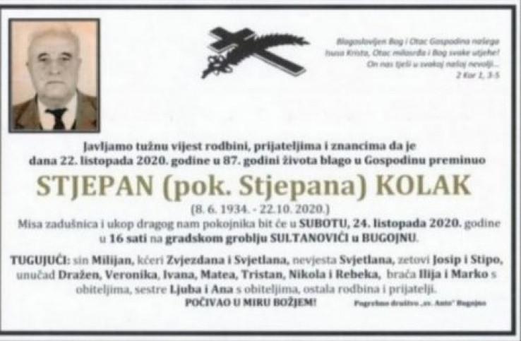 Osmrtnica ubijenog Stjepana