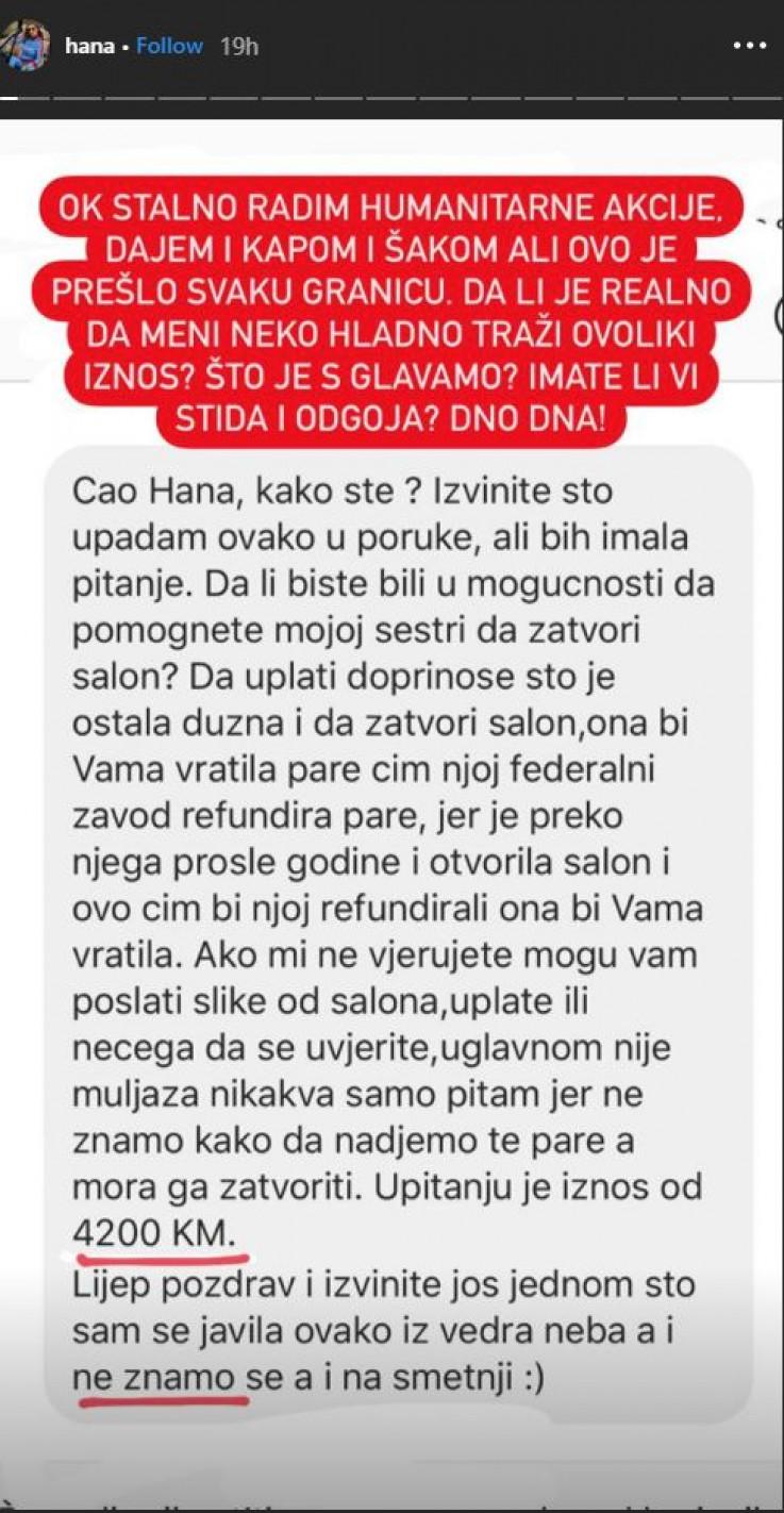 Nepoznata osoba od Hane Hadžiavdagić tražila novac