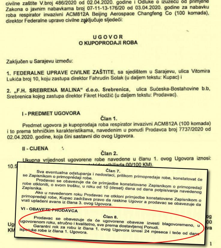 """Faksimil ugovora """"Srebrene maline"""" i FUCZ-a,šta piše u članu 8."""