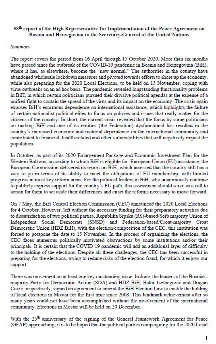 Faksimil Inckovog izvještaja UN-u