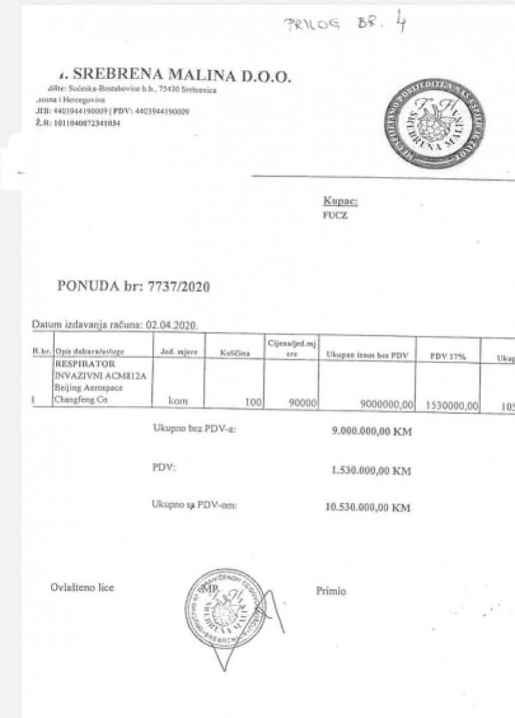 """Faksimil ponude """"Srebrene maline"""" koji je oduzela SIPA, a pronađen je u banci"""