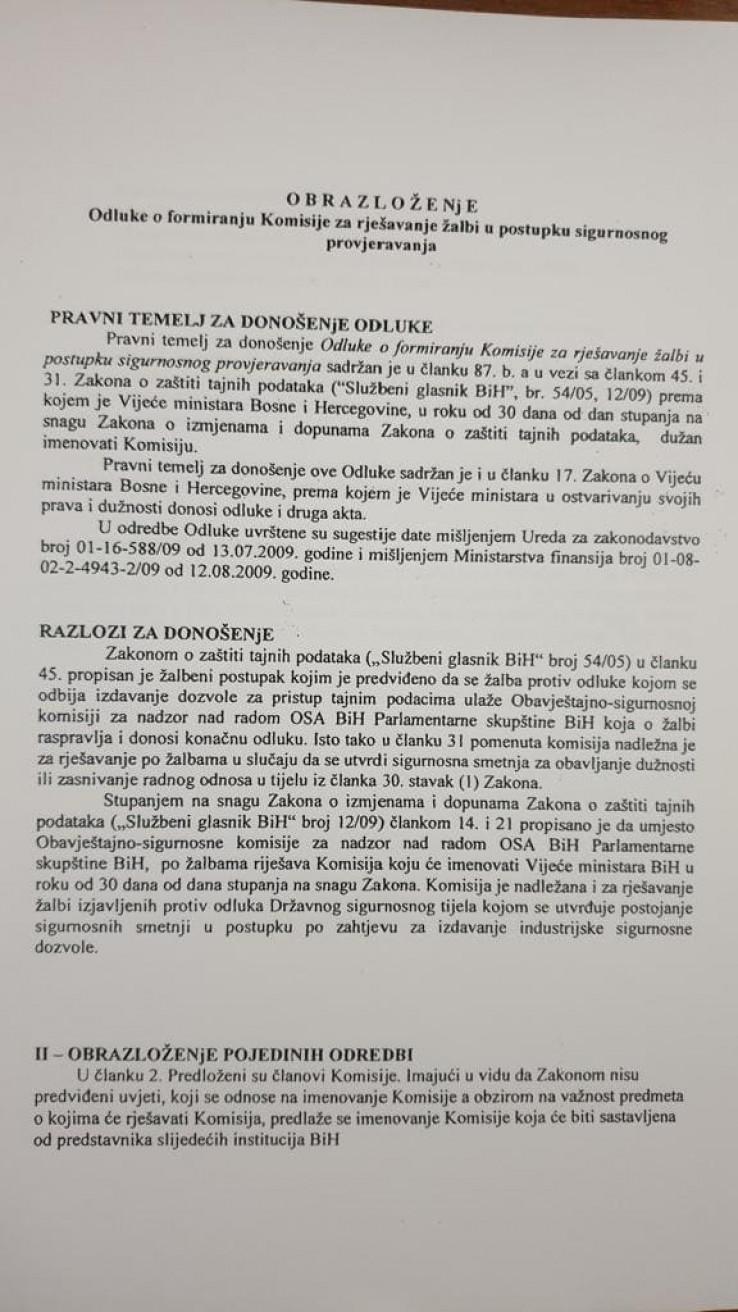 Obrazloženje Odluke o formiranju Komisije