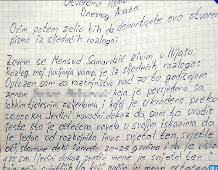 Faksimil pisma Samardžića
