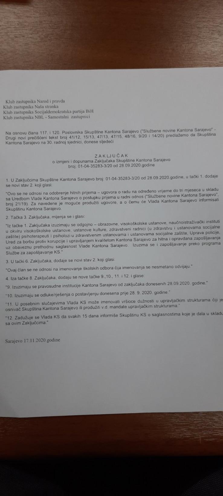 Zaključak o izmjeni i dopunama Zaključaka Skupštine KS