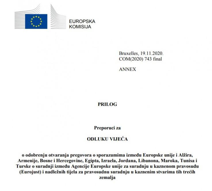 Prijedlog odluke o odobrenju otvaranja pregovora s BiH