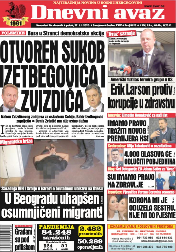 """Današnja naslovna strana """"Dnevnog avaza"""""""
