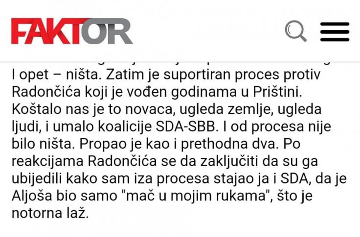 Faskimil Izetbegovićevog intervjua u Faktoru, objavljenog 29. 11. 2020.