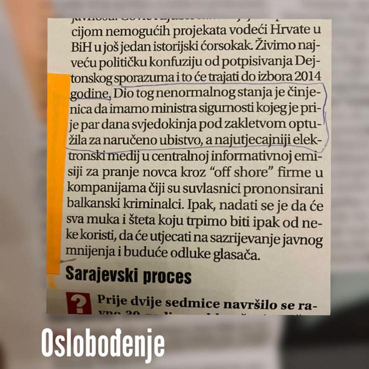 Faksimil intervjua u Oslobođenju iz 2013.