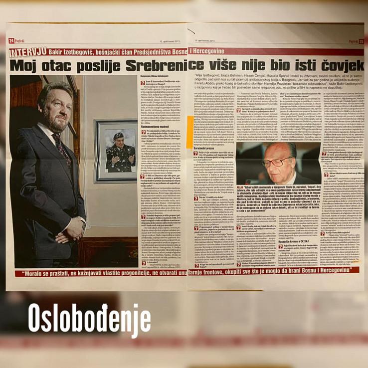 Faksimil Izetbegovićevog intervjua Oslobođenju iz 2013.