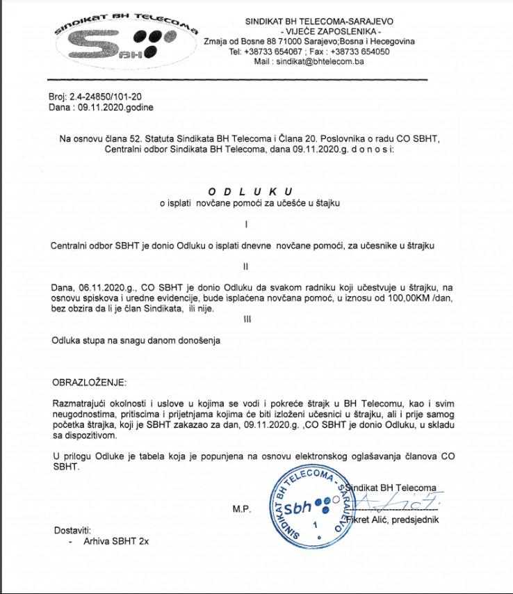 Odluka sindikata BH Telecoma za dodjelu po 100 KM učesnicima u štrajku
