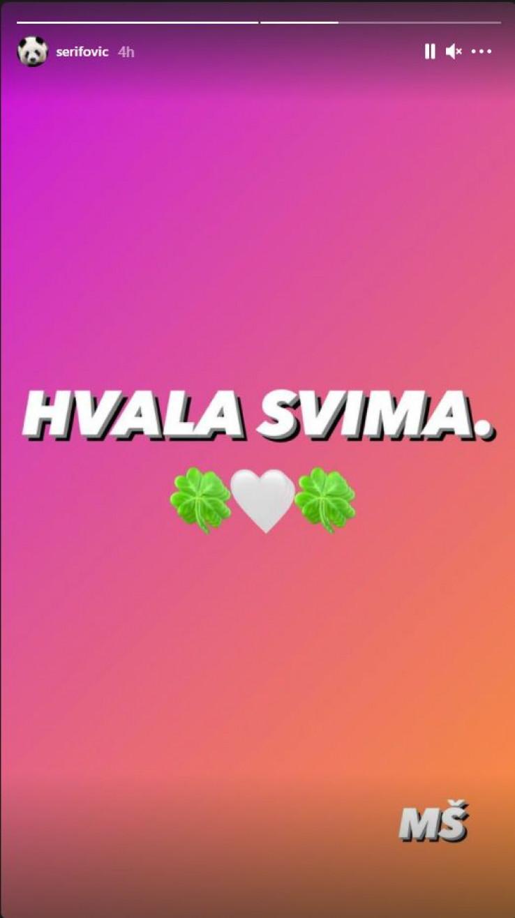 Šerifović se oglasila na svom Instagram profilu