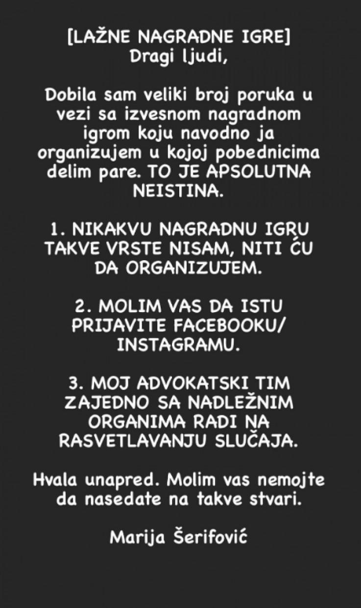 Objava Marije Šerifović