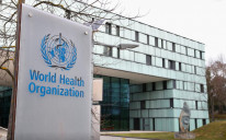 A logo is pictured outside a building of the World Health Organization (WHO) during an executive board meeting on update on the coronavirus outbreak, in Geneva, Switzerland
