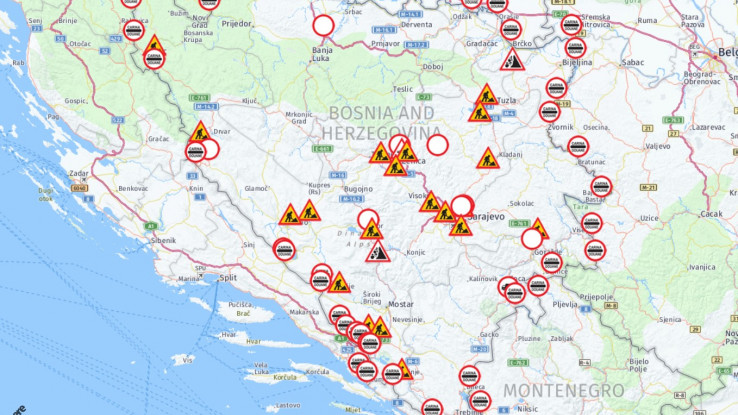 Grafički prikaz stanja na putevima u BiH