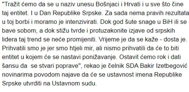 Izetbegović  najavio da će podnijeti apelaciju Ustavom sudu BiH za ukidanje imena RS