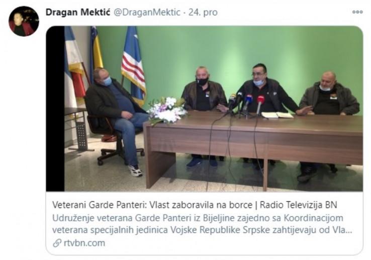 Faksimil Mektićeve objave na Twitteru: Podrška bivšim pripadnicima Mauzerove jedinice