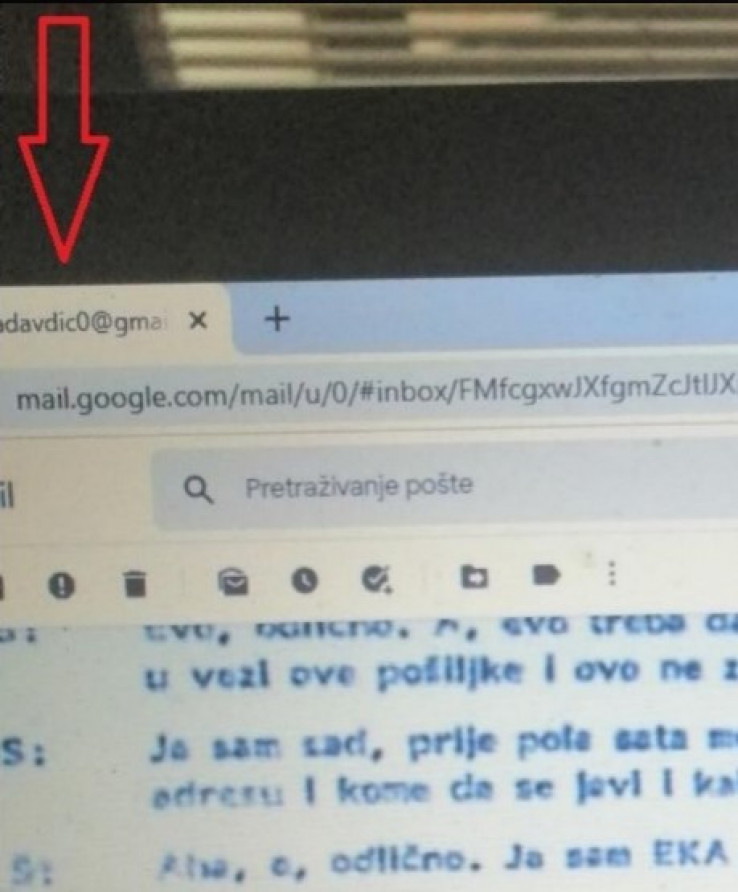 Facsimile of Mektić's post on Twitter yesterday: The sender's mail belonging to Senad Avdić is clearly visible