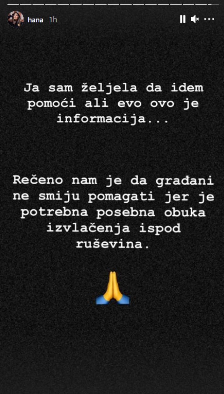 Jedna od Haninih objava na Instagramu