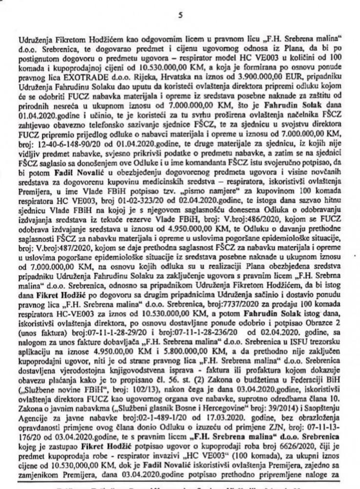 Faksimil optužnice Tužilaštva BiH