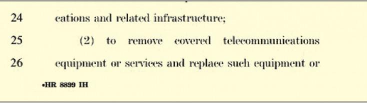 Faksimili dijela predloženog zakona: Ukloniti kinesku mrežu i opremu