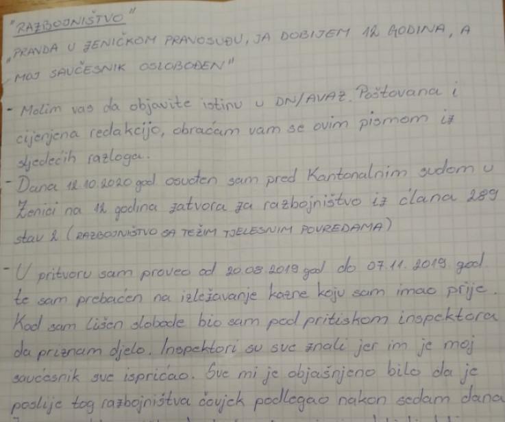 Faksimil Mahmićevog pisma