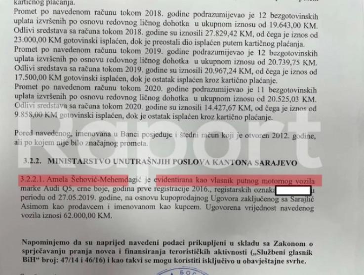 Dokument koji dokazuje da je Sarajlić prodao vozilo supruzi Mehmedagića