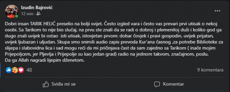 Objava Izudina Bajrovića na Facebooku