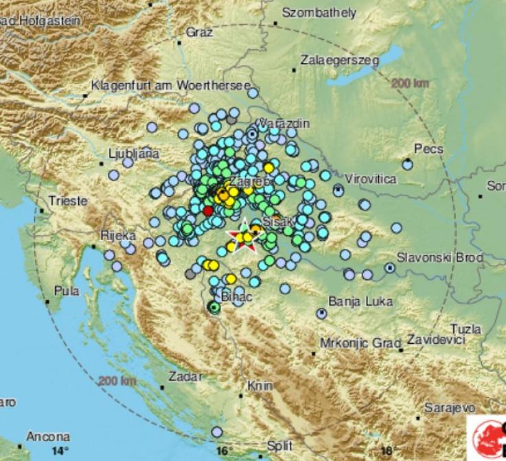 Epicentar bio oko 45 kilometara jugoistočno od Zagreba