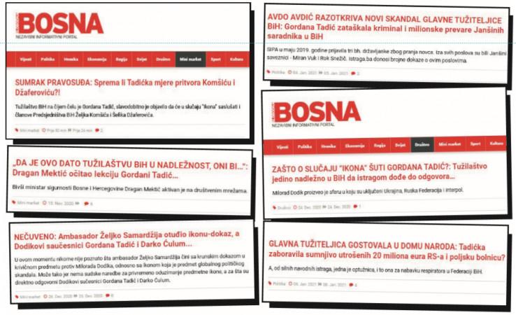 Faksimili tekstova koji su posljednjih dana objavljeni na portalu SB: Gotovo svaki dan naslovi kojima se vrši pritisak na tužiteljicu Tadić