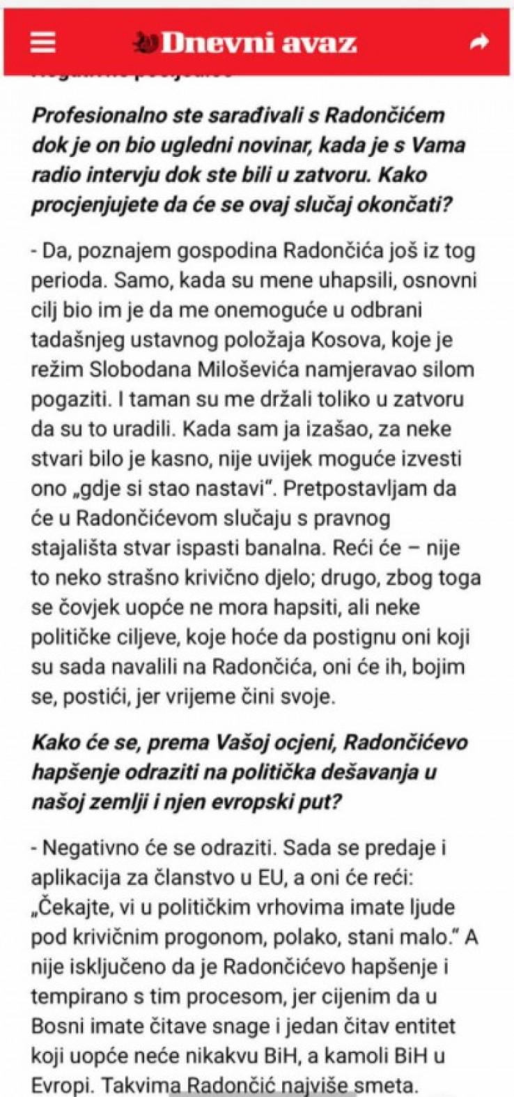 """Izjava Azema Vlasija za """"Dnevni avaz"""" 26. januara 2016. godine: Nedopustiva politička optužnica"""