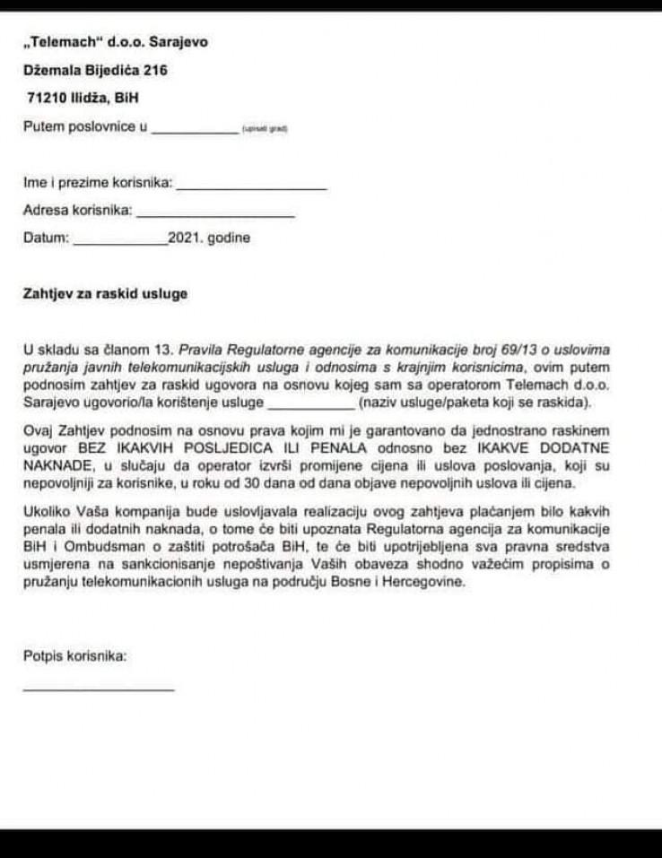 Zahtjev za raskid ugovora