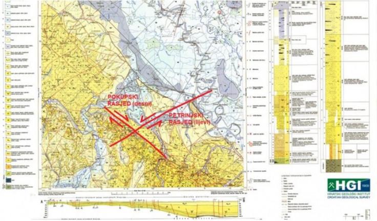 Mapa rascjepa na petrinjskom području