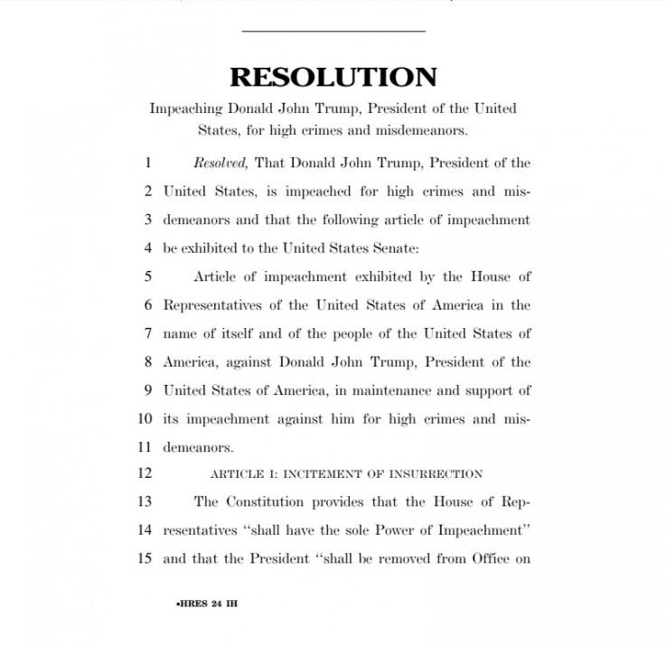Dio rezolucije o opozicu Trampa