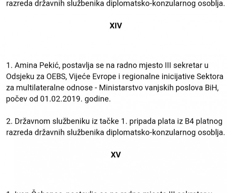 Facsimile of the decision on the appointment of Amina Pekić published in the Official Gazette of B&H