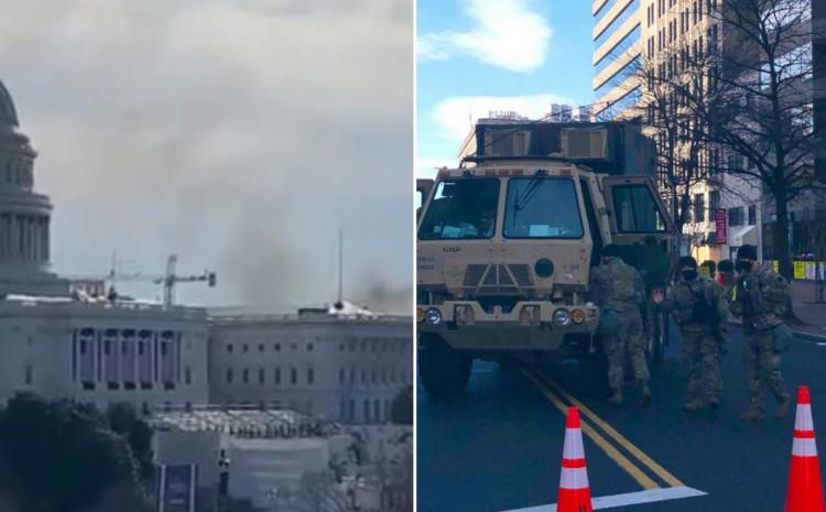 Podiže se gust oblak dima, vojska na ulicama