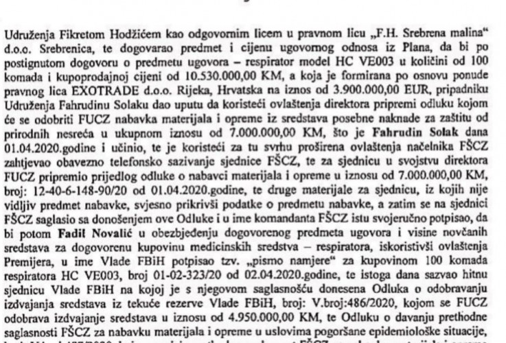 Facsimile of the indictment of the Prosecutor's Office of B&H: The offer of the company EXOTRADE is clearly stated