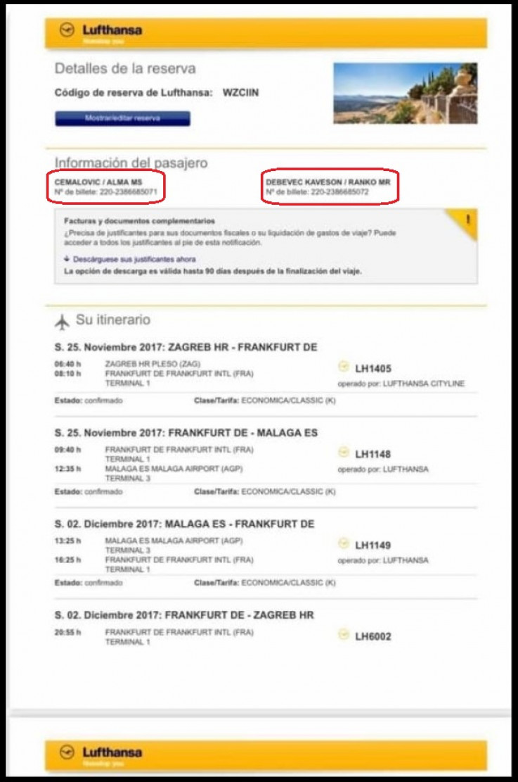 Avionske karte rezervirane na ime Ranko Debevec Kaveson i Alma Ć.