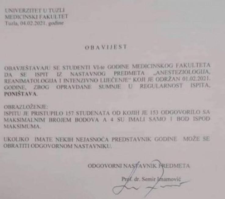 Obavijest koju je potpisao prof. Semir Imamović