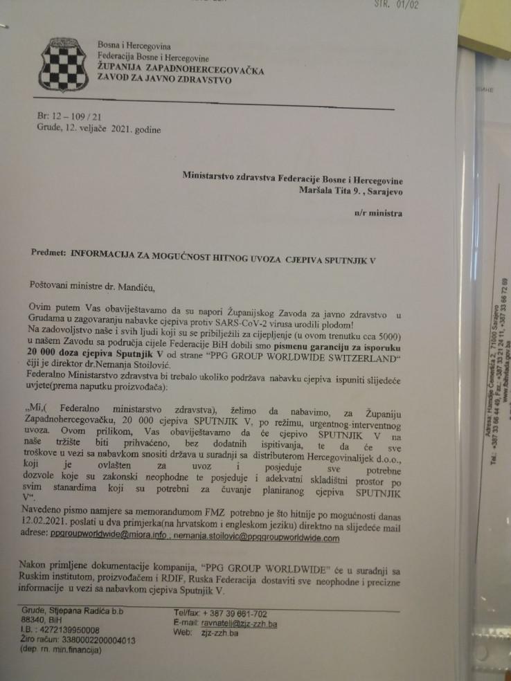 Faksimili dopisa koji je iz ZZJZ ZHK upućen Ministarstvu zravstva FBiH