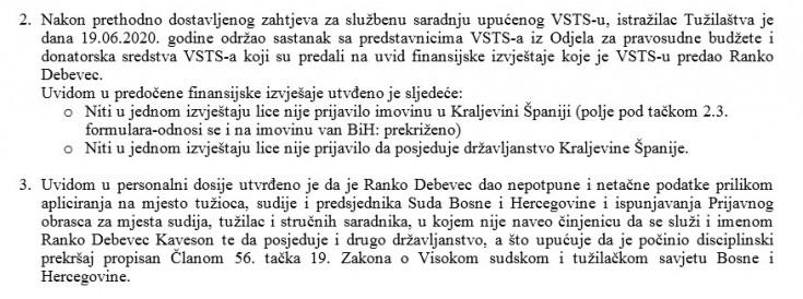 Faksimil dopisa Tužilaštva BiH Uredu disciplinskog tužioca