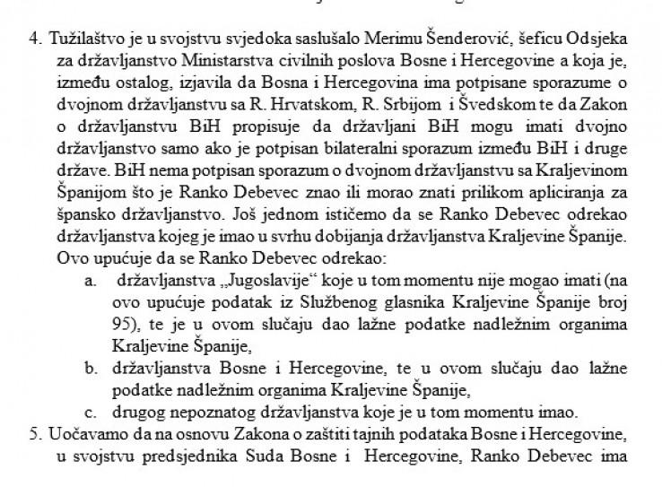 Faksimil dopisa Tužilaštva BiH disciplinskom tužiocu
