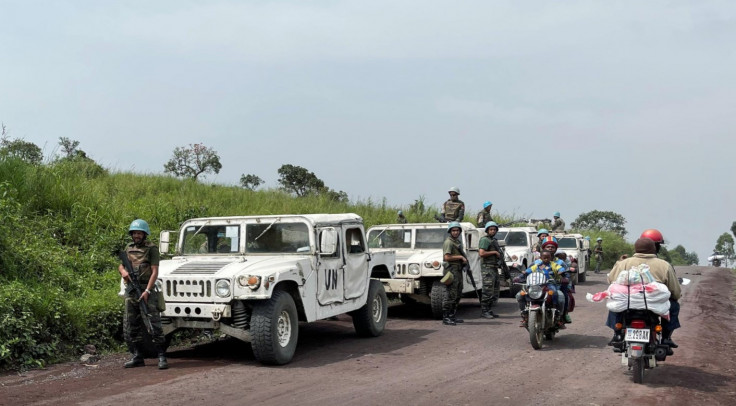 Peacekeepers serving in the United Nations Organization Stabilization Mission in the Democratic Republic of the Congo (MONUSCO) secure the scene where the Italian ambassador to Democratic Republic of Congo Luca Attanasio, Italian military policeman Vittorio Iacovacci and Congolese driver Moustapha Milambo from the World Food Programme were killed in an attempted kidnap when their convoy was attacked in Ruhimba village, eastern Democratic Republic of the Congo February 22, 2021.